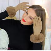 Gants femme hiver tactiles fourrure suédine polaire GT64 taupe Accessoires mode femme