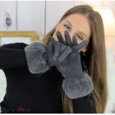 Gants femme hiver tactiles fourrure suédine polaire GT64 gris Accessoires mode femme