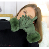 Gants femme hiver tactiles fourrure suédine polaire GT64 kaki Accessoires mode femme
