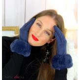 Gants femme hiver tactiles fourrure suédine polaire GT64 bleu marine Accessoires mode femme