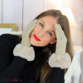 Gants femme hiver tactiles fourrure suédine polaire GT64 beige Accessoires mode femme