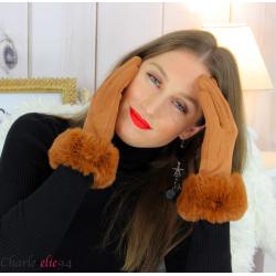 Gants femme hiver tactiles fourrure suédine polaire GT64 camel Accessoires mode femme
