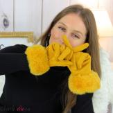 Gants femme hiver tactiles fourrure suédine polaire GT64 jaune Accessoires mode femme