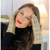 Gants femme hiver tactiles tweed suédine polaire GT62 beige Accessoires mode femme