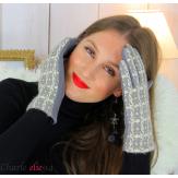Gants femme hiver tactiles tweed suédine polaire GT62 gris Accessoires mode femme