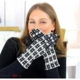 Gants femme hiver tactiles tweed suédine polaire GT62 noir Accessoires mode femme