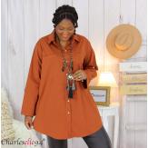 Chemise longue coton lycra femme grande taille ZELIA brique Chemise femme grande taille