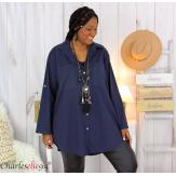 Chemise longue coton lycra femme grande taille ZELIA bleu marine Chemise femme grande taille