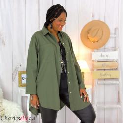 Chemise longue coton lycra femme grande taille ZELIA kaki Chemise femme grande taille