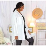 Chemise longue coton lycra femme grande taille ZELIA blanche Chemise femme grande taille
