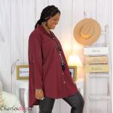 Chemise longue coton lycra femme grande taille ZELIA bordeaux Chemise femme grande taille
