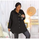 Chemise longue coton lycra femme grande taille ZELIA noire Chemise femme grande taille
