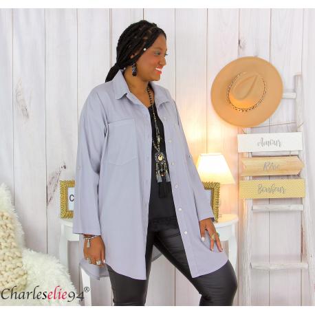 Chemise longue coton lycra femme grande taille ZELIA gris Chemise femme grande taille