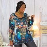 Pull tunique maille imprimé femme grande taille WILLO M72 Pull tunique femme