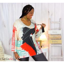 Pull tunique maille imprimé femme grande taille WILLO M73 Pull tunique femme
