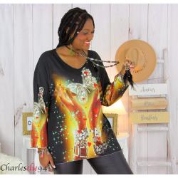 Pull tunique maille imprimé femme grande taille WILLO M81 Pull tunique femme