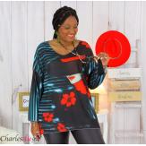 Pull tunique maille imprimé femme grande taille WILLO M85 Pull tunique femme
