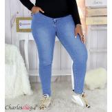 Jean slim femme grande taille délavé stretch PANAO Jean femme