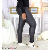 Jean simili cuir noir femme grande taille stretch PANAO Jean femme