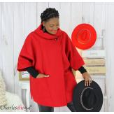 Cape veste hiver femme grande taille HORIZON rouge Cape femme grande taille