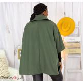 Cape veste hiver femme grande taille HORIZON kaki Cape femme grande taille