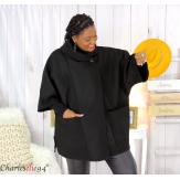 Cape veste hiver femme grande taille noire HORIZON Cape femme grande taille