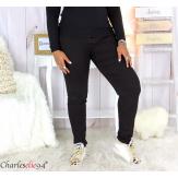 Jean pantalon slim femme grande taille stretch PANAO noir Pantalon femme grande taille