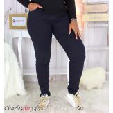 Jean pantalon slim femme grande taille stretch PANAO bleu marine Pantalon femme grande taille