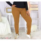 Jean pantalon slim femme grande taille stretch PANAO camel Pantalon femme grande taille