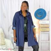Chemise longue femme grande taille jean lyocell bio LAZARE Chemise femme grande taille