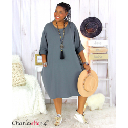 Robe boule sweat poches femme grande taille RANI gris Robe grande taille