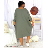 Robe boule sweat poches femme grande taille RANI kaki Robe grande taille