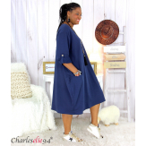 Robe boule sweat poches femme grande taille RANI bleu marine Robe grande taille