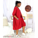Robe boule sweat poches femme grande taille RANI bordeaux Robe grande taille