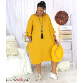 Robe boule sweat poches femme grande taille RANI moutarde Robe grande taille