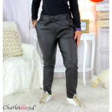 Pantalon simili cuir stretch carotte femme grande taille GABY noir Pantalon femme grande taille