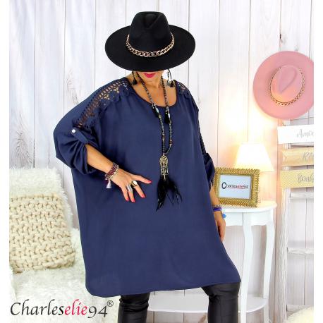 Tunique longue dentelle femme grandes tailles KARAN bleu marine Tunique femme grande taille