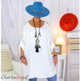 Tunique longue dentelle femme grandes tailles KARAN blanche Tunique femme grande taille