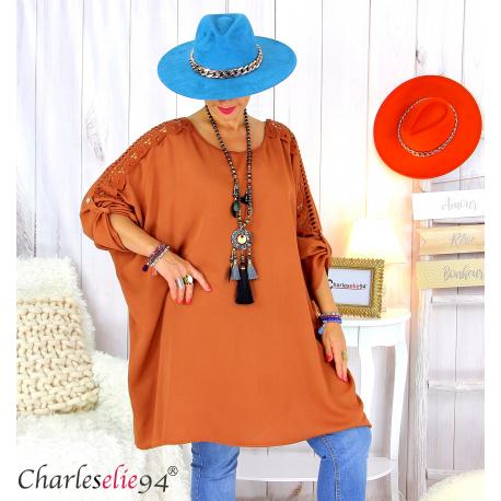 Tunique longue dentelle femme grandes tailles KARAN brique Tunique femme grande taille