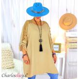 Tunique longue dentelle femme grandes tailles KARAN camel Tunique femme grande taille