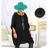 Tunique longue dentelle femme grandes tailles KARAN noire Tunique femme grande taille