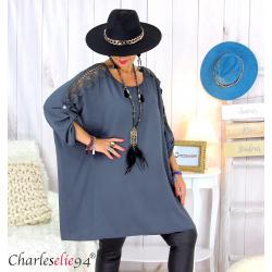 Tunique longue dentelle femme grandes tailles KARAN gris Tunique femme grande taille