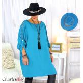 Tunique longue dentelle femme grandes tailles KARAN bleu canard Tunique femme grande taille