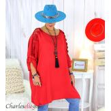 Tunique longue dentelle femme grandes tailles KARAN rouge foncé Tunique femme grande taille