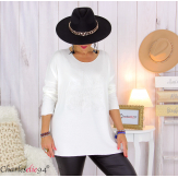 Pull tunique doux femme grande taille rock FLORIDA blanc Pull femme grande taille