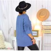 Pull tunique doux femme grande taille rock FLORIDA bleu jean Pull femme grande taille