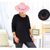 Pull tunique doux femme grande taille rock FLORIDA noir Pull femme grande taille