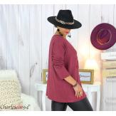 Pull tunique doux femme grande taille rock FLORIDA bordeaux Pull femme grande taille