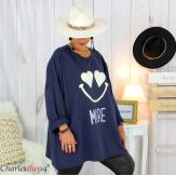 Sweat long funky femme grande taille original SMILE bleu marine Tunique hiver femme