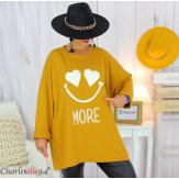 Sweat long funky femme grande taille original SMILE moutarde Tunique hiver femme